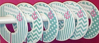 6 Baby Closet  Dividers in Aqua with Pink Anchors Nautical Clothes Organizers