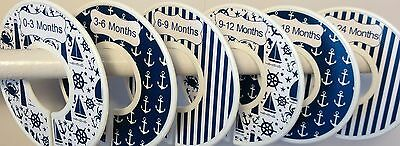 6 Baby Closet  Dividers in Navy Nautical Anchors Sailboats Lighthouses Ocean