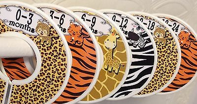 6 Baby Closet Dividers in Jungle Animal Prints Shower Gift Clothes Organizers