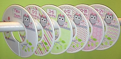 6 Baby Closet Dividers in Pink Green Grey Owls Shower Gift Clothes Organizers