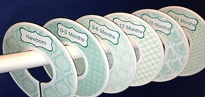 6 Baby Closet  Dividers in Mint Chic Shower Gift Clothes Organizers