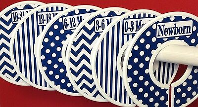 6 Baby Closet Dividers in Navy Dots Stripes Chevrons Clothes Organizers