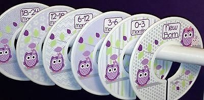 6 Baby Closet  Dividers in Purple Lavender Owls Shower Gift Clothes Organizers