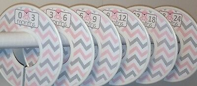 6 Baby Closet Dividers in Pink Grey Chevron Teddy Bears Clothes Organizers