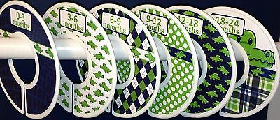 6 Baby Closet Dividers in Navy Green Preppy Alligator Clothes Organizers