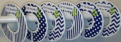 6 Baby Closet  Dividers in Navy Lime Green Anchors Nautical Clothes Organizers