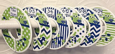 6 Baby Closet Dividers in Navy Lime Green Owls Shower Gift Clothes Organizers