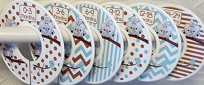 6 Baby Closet Dividers in Mint Brown Koalas Shower Gift Clothes Organizers