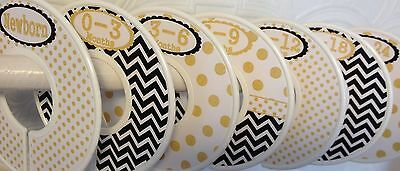 7 Assembled Baby Closet Dividers in Gold Black Dots Chevrons Clothes Organizers