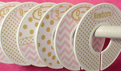 7 Assembled Baby Closet Dividers in Gold Pink Dots Chevrons Clothes Organizers
