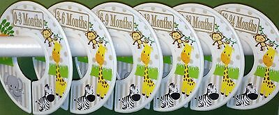 6 Baby Closet Dividers in Jungle Animals Tan Clothes Organizers Baby Gift