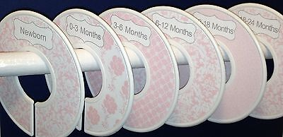 6 Baby Closet  Dividers in Pink Chic Shower Gift Clothes Organizers
