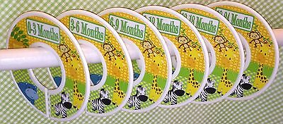 6 Baby Closet Dividers in Yellow Green Jungle Animals Clothes Organizers