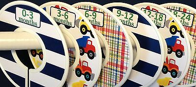 6 Baby Closet  Dividers in Construction Trucks Shower Gift Clothes Organizers