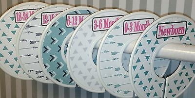 6 Baby Closet  Dividers  in Tribal Pink Mint Grey Arrows Triangles Baby Gift