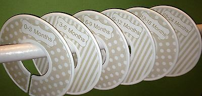 6 Baby Closet Dividers in Tan Beige Dots Stripes Shower Gift Clothes Organizers