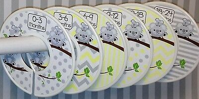 6 Baby Closet Dividers in Yellow Grey Koalas Shower Gift Clothes Organizers
