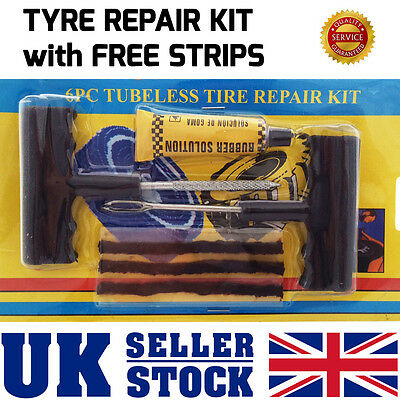 Car Van Tyre EMERGENCY PUNCTURE Repair Kit With 3 Strips + EXTRA FREE STRIPS
