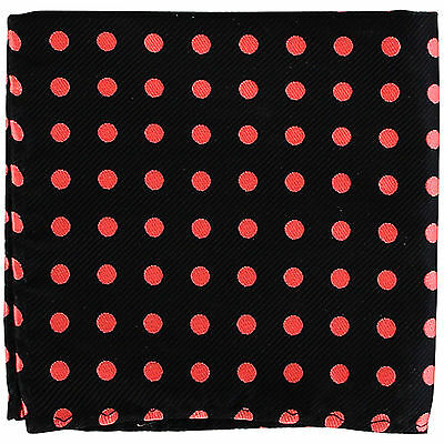 New Men's poly woven Pocket Square Hankie Handkerchief black_Coral polka dots