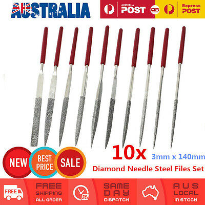 10PCS Assorted Diamond Needle Steel Files Set Watch Jewelers Hobby Craft Blades