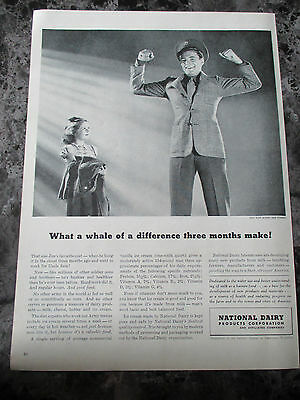 "Vintage 1942 National Dairy Products Corporation War Print Ad, 14"" X 10.125"""