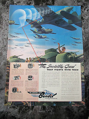 "Vintage 1942 Bendix Aviation Corporation War Themed Print Ad, 13.875"" X 10.25"""