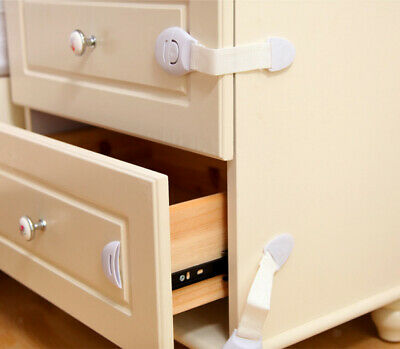 10 Cupboard Drawer Lock Secure Catches Safety Baby Child Proofing Lengthened