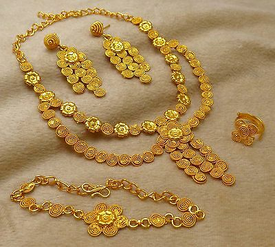 New Gold Plated Indian Bollywood Necklace Earrings Set Wedding Bridal Jewelry
