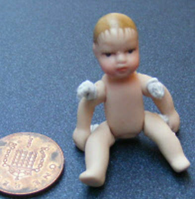 1:12th Scale Doll House Miniature Undressed Porcelain Baby Nursery Accessory 155