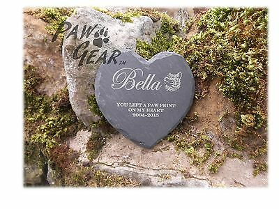 Memorial Plaque Personalised Engraved Natural Slate Heart Shape Cat Grave Marker