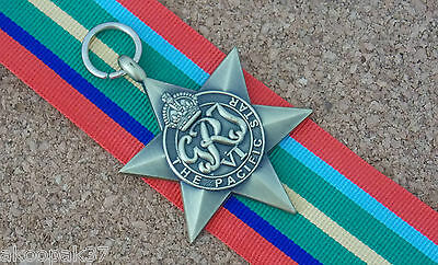Pacific Star Full Size Reproduction Of The Original Medal With 15 Cm Ribbon