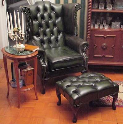 Chesterfield Queen Anne High Back Wing Chair Antique Green Leather + Footstool