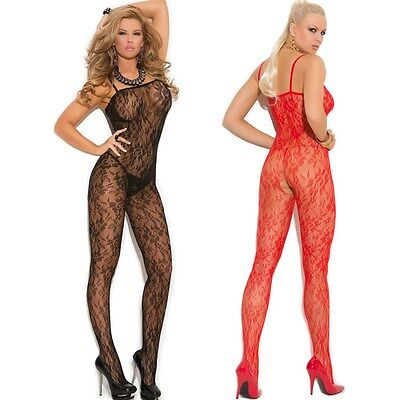 Rose Lace Bodystocking Lingerie One Size Regular or One Size Queen EM1610