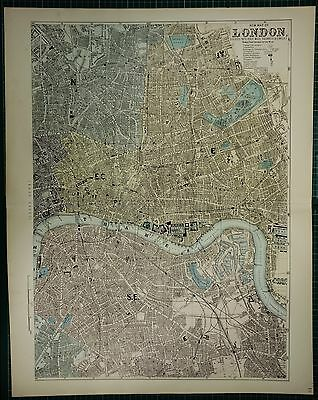 1883 Large Antique Map London City Plan East Central Thames Docks Hand Coloured