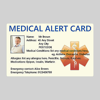 Emergency Medical Alert ID Card Custom Personalised Text with Photo, Asthma