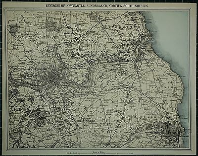 1883 Large Antique Map Newcastle Sunderland North & South Shields Hand Coloured