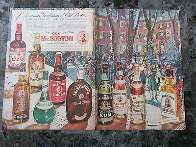 "1942 Old Mr. Boston Liquors 2 Page Christmas Print Ad, 14"" X 20.25"""