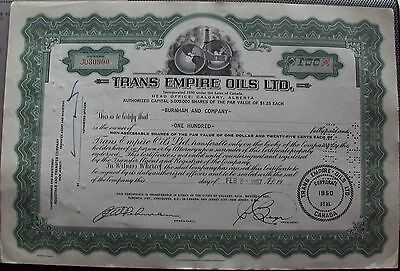 Canadian stock certificate Trans Empire Oils LTD issued in 1957 Canada Alberta