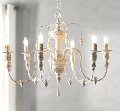 new Horchow French Restoration Vintage Hardware Antique White Beaded Chandelier