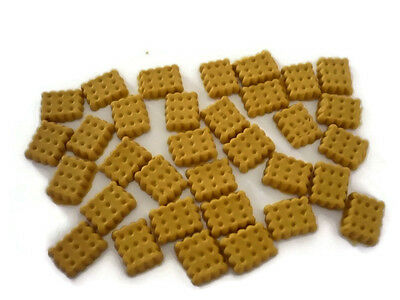 30 Loose Miniature Square Biscuits Dollhouse Miniatures Food Bakery Deco