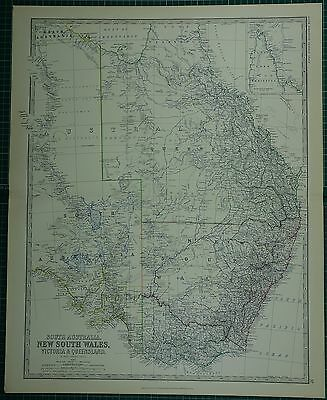 1880 Large Antique Map ~ South Australia New South Wales Victoria & Queensland