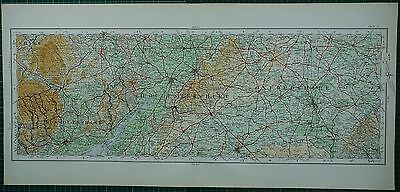 1922 Large Map ~ Gloucestershire Cheltenham Newport Cirencester Oxford