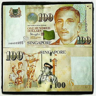 Singapore 100 Dollars $100 2 Triangle Scout Youth Note Banknote New Unc