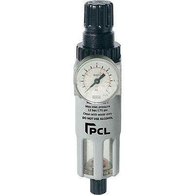 "PCL Professional Air Tools 1/4"" Filter Regulator - Air Line High Quality - ATC6"