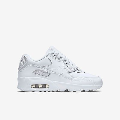 New Nike Youth Air Max 90 Leather (GS) Shoes (833412-100)  White/White