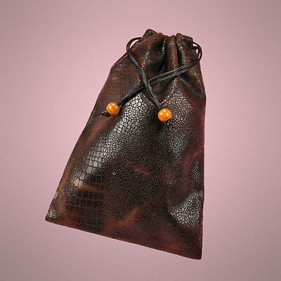 """NEW Coffee Brown 6"""" x 9"""" Faux Leather Drawstring Bag Pouch"""