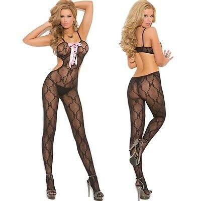 Black Bow Lace Bodystocking Lingerie Front Regular or Plus Size Queen EM1662