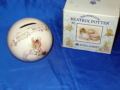 ROYAL ALBERT ENGLAND Beatrix Potter Hunca Munca CERAMIC BANK NEW IN BOX