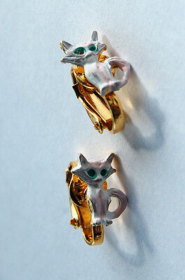 Vintage Girs Childrens Kids Metal Clip On Earrings Kitty Cat