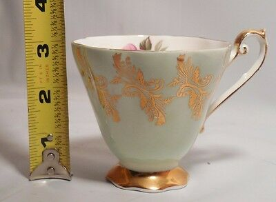 ROYAL STANDARD bone china GREEN and gold TEA cup floral rose pink ENGLAND pretty